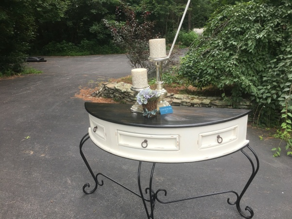 Refinished Half Round Table