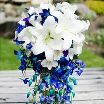white lily and blue orchid cascade