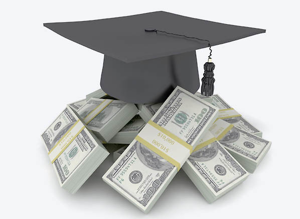 mortar board on top of large sum of money
