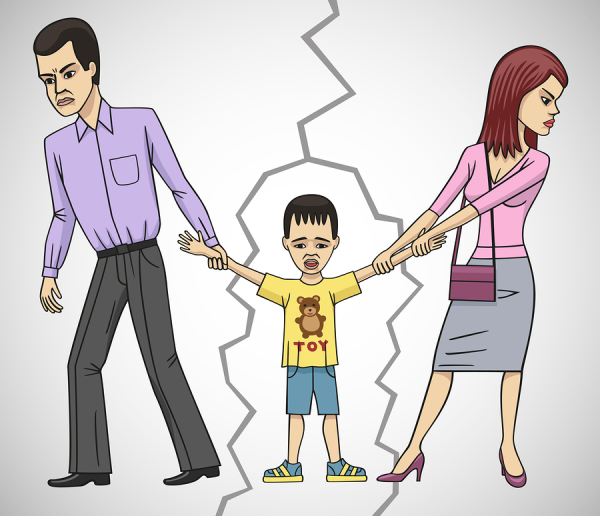 parents pulling child in different directions