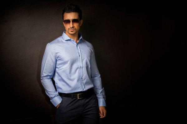 Mens Light Blue Business Shirt Style #B002