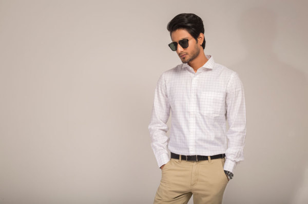 Mens White with Blue Check Business Shirt Style #B005
