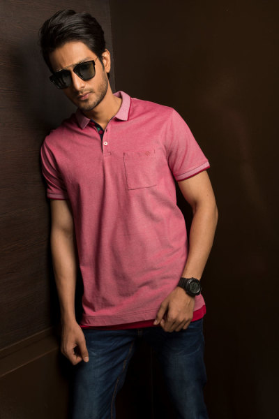 Mens Pink Classic Fit Polo Tshirt Style #P004