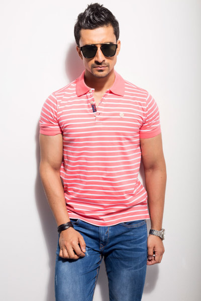 Mens Regular Fit Pink Striped Polo Tshirt Style#P006