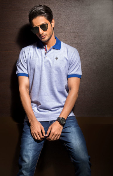 Mens Regular Fit Blue on Blue Polo Tshirt Style#P007