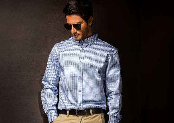 Mens Blue Check Business Shirt Style #B003