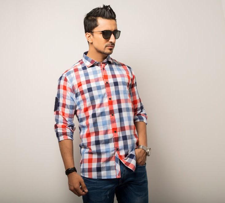 Big Check Mens Casual Shirt  Style #C004