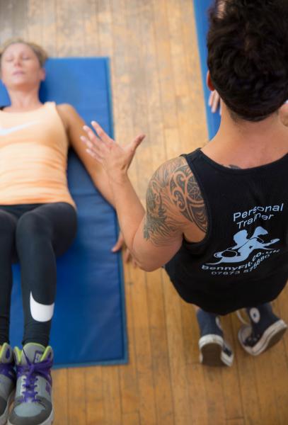 Teaching a pilates class