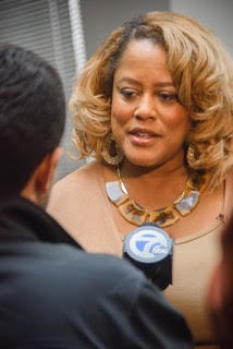 Channel 7 interviewing Gwen Thomas