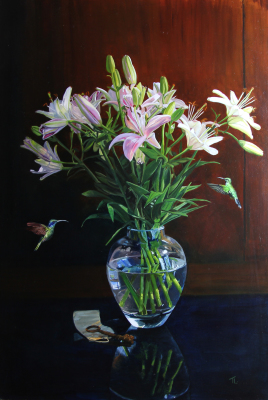 Humming birds with vase – Flying in for lunch by Tanya Achilleos Lock