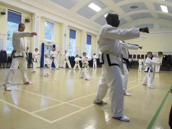Students of Master John McNally practice thier movements in the Martial arts class held for Sutton coldfield, erdington and kingstanding students.