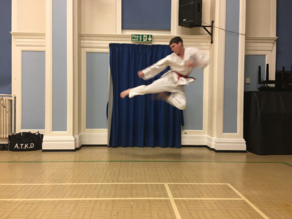 Sutton coldfield and erdington student Joe Lynch showing his flying side kick for Taekwondo