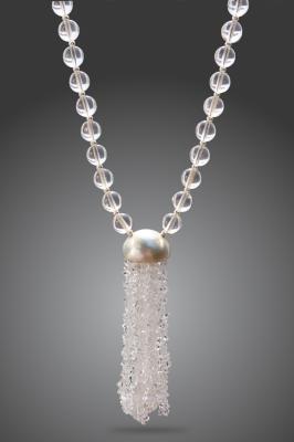 Herkimer and Rock Crystal Mala Beads