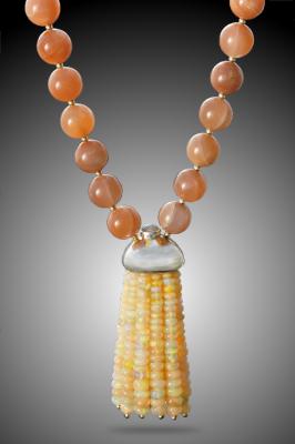 Peach Moonstone and Opal Mala Beads