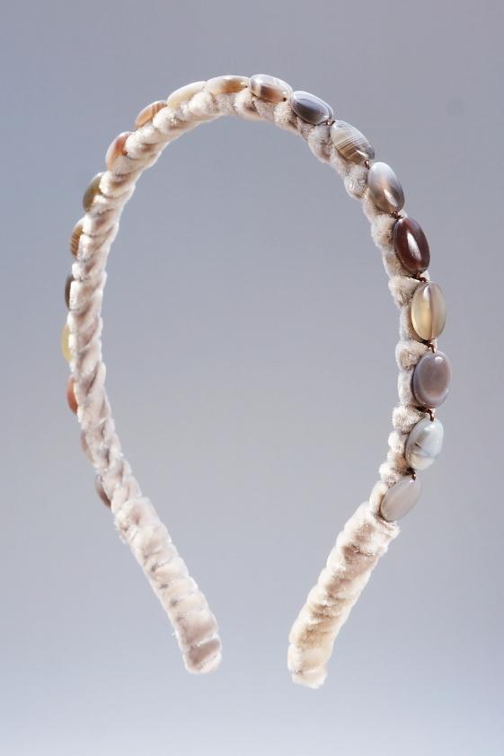 Botswana Agate Headband & Taupe Velvet