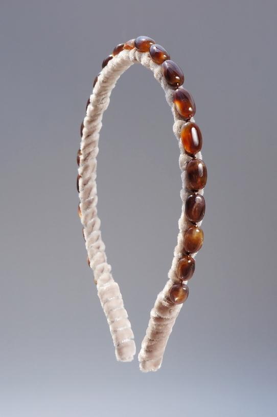 Fire Agate Headband & Taupe Velvet