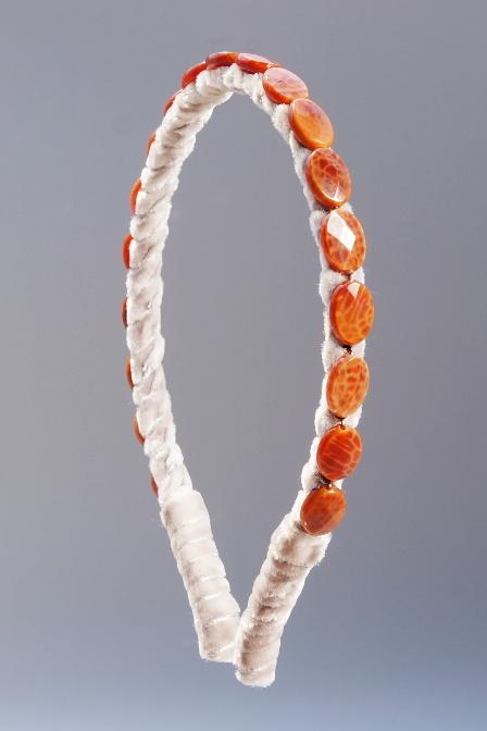 Fire Agate Faceted  Headband & Taupe Velvet