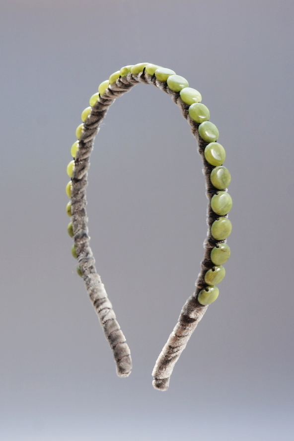 Green Calcite Headband & Charcoal Velvet