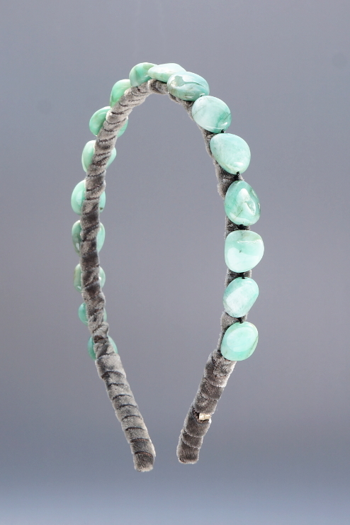 Emerald Headband & Charcoal Velvet