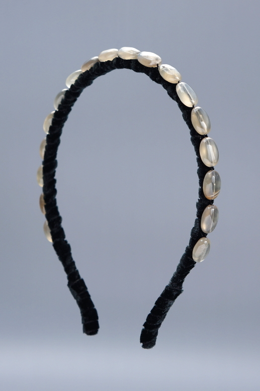 Moonstone Ovals Headband & Black Velvet