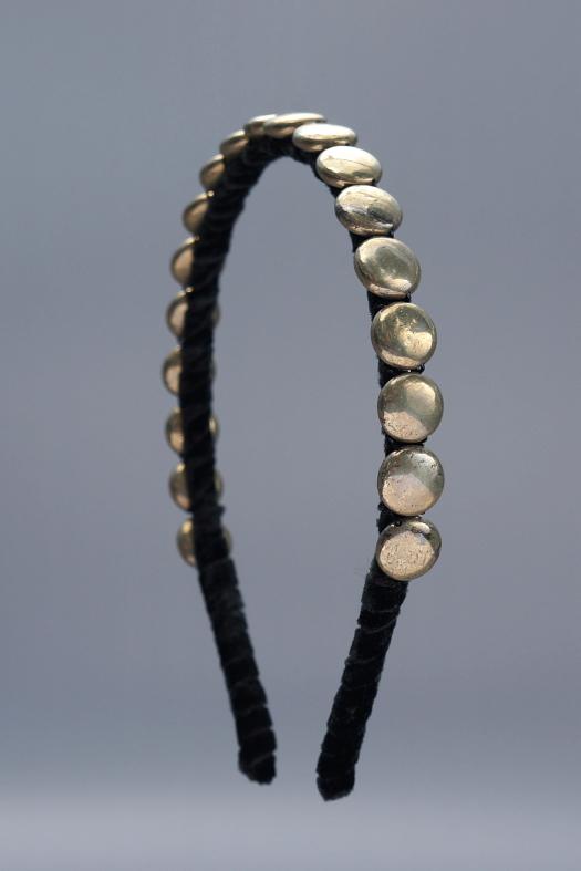 Pyrite Coins Headband & Black Velvet