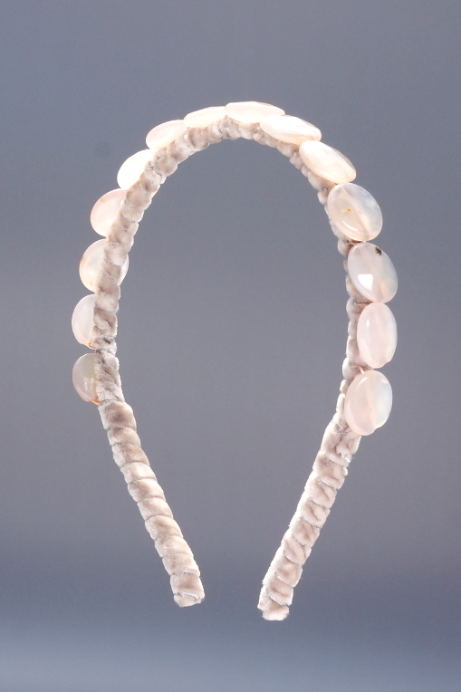 Rose Quartz Faceted Coin Headband & Taupe Velvet