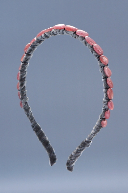 Rhodochrosite Small Nugget Headband & Charcoal Velvet