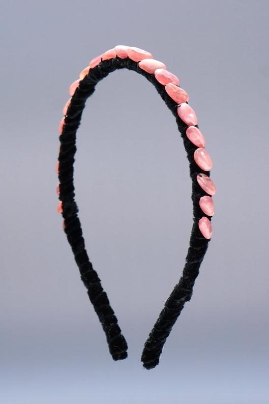 Rhodochrosite Small Nugget Headband & Black Velvet