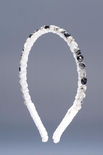 Black Tourmalated Quartz Facted Coins Headband & White Velvet