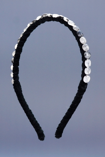 Black Tourmalated Quartz Facted Coins Headband & Black Velvet