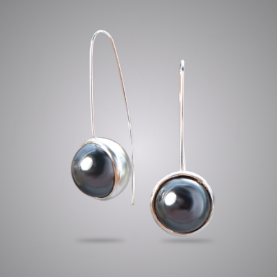 Hematite Crescent Moon Earrings