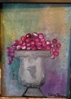 grapes, vase, kitchen, decor, oil, canvas, still life
