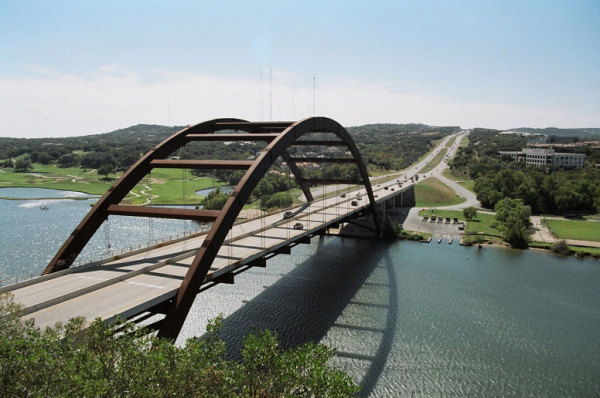 Austin Antenna Farm Seen Behind the Pennybacker Bridge