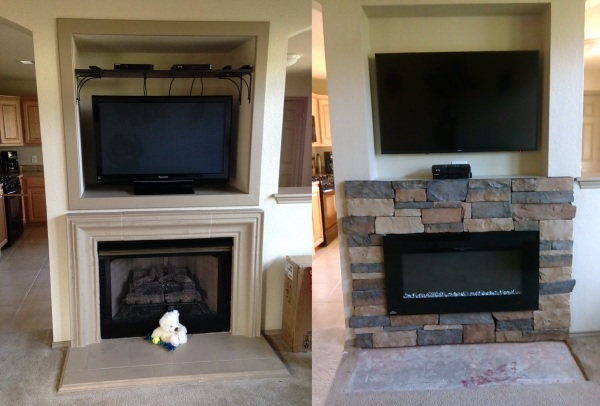 Fireplace Remodel Before & After