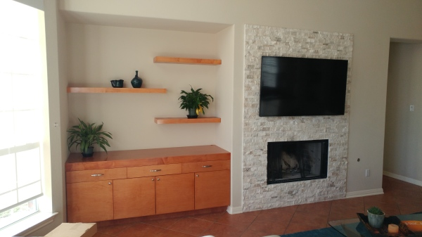 Custom built-in and floating shelves