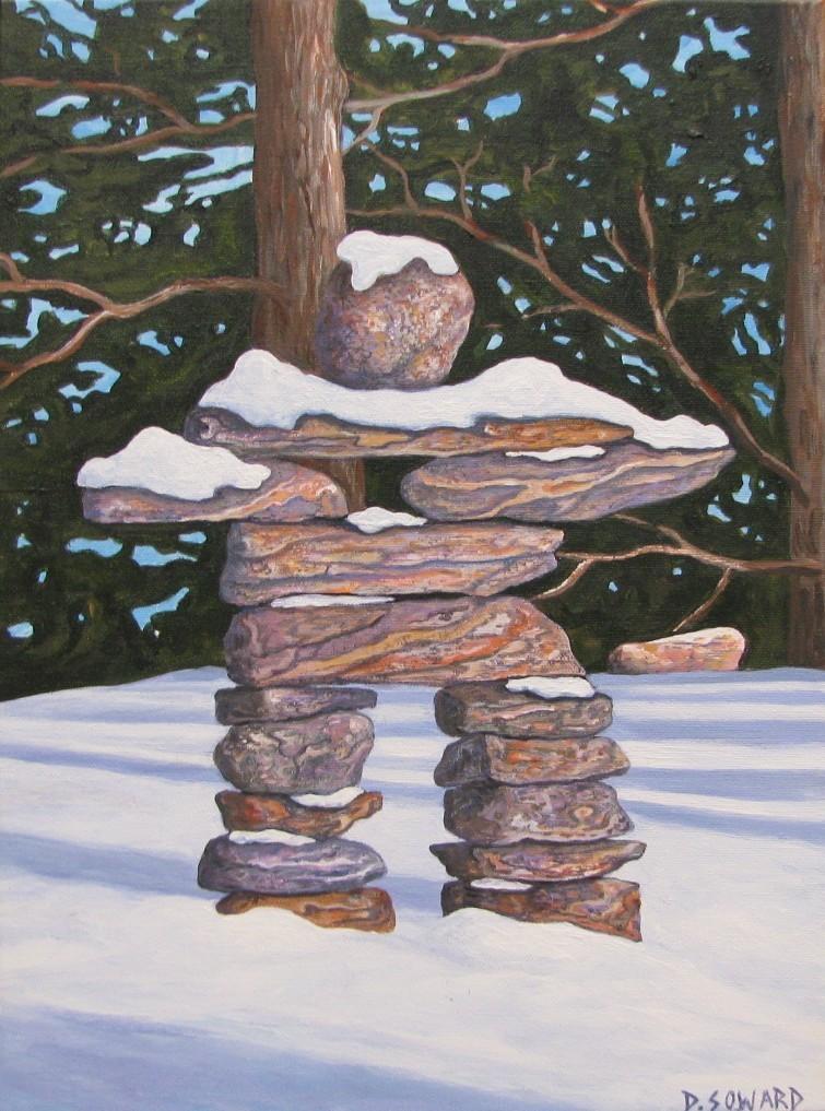 Snowy Inukshuk (14 x 18)