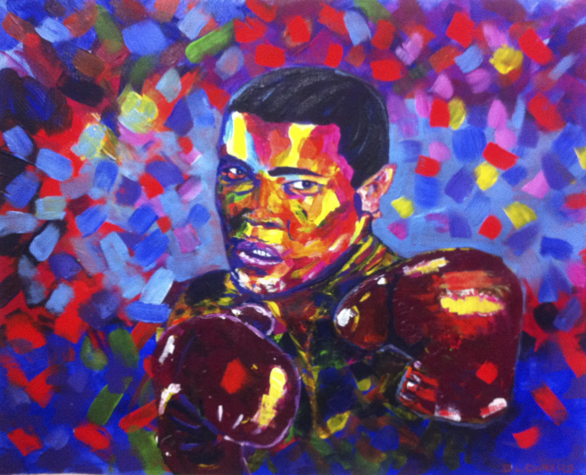 Mohammed Ali, colorful portrait, portrait painting, acrylic painting.