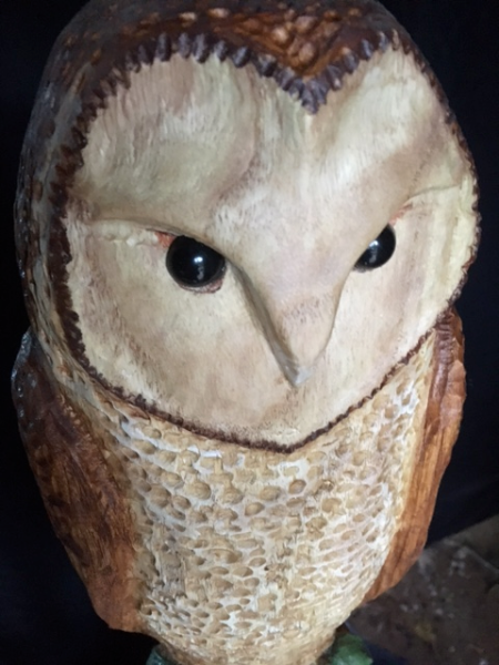 Wood Carving of a Barn Owl
