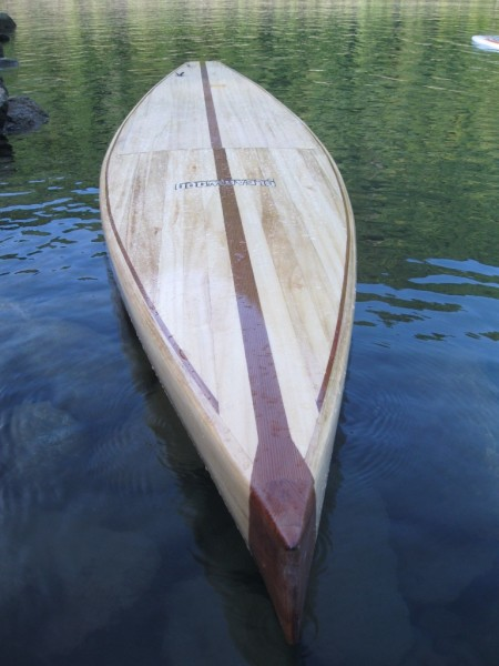 Paulownia Paddle Board sitting high in the water, built from my lumber.
