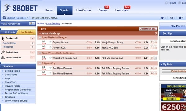 Menang SBOBET Asian Handicap