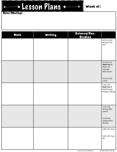 Lesson Plan Sheet pg. 2