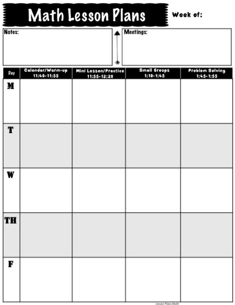 Math Lesson Plan Pages