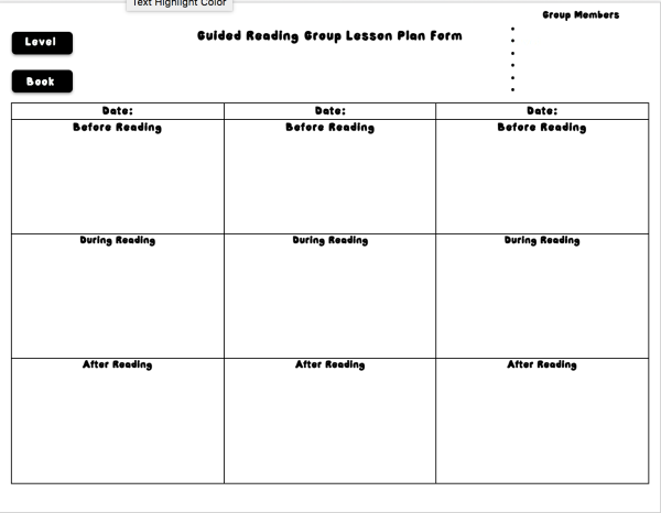 Guided Reading Lesson Plan Template Form Option 3
