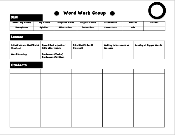 Word Work Small Group Form