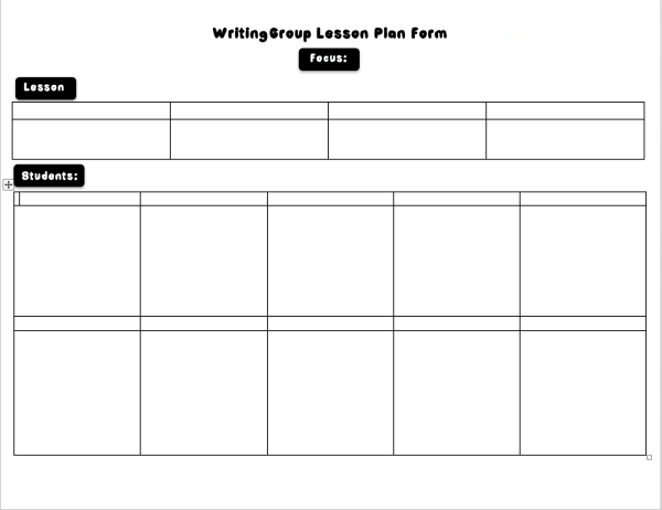 Writing Small Group Form