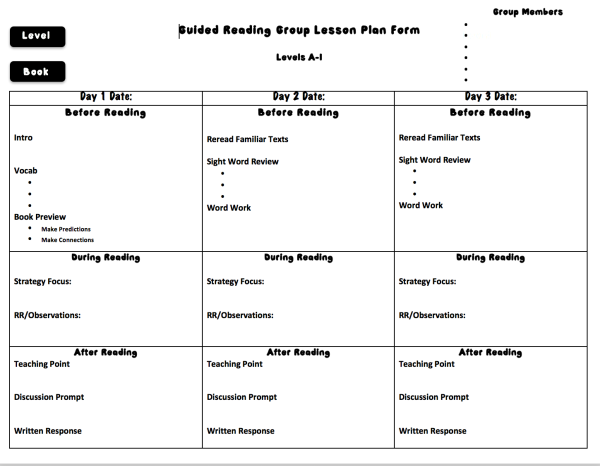 Guided Reading Lesson Plan Template Option 3