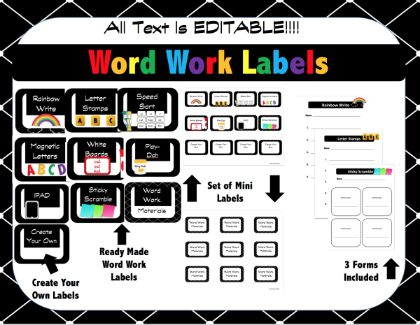 New Word Work Labels