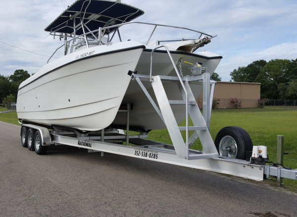 Custom Aluminum Catamaran Boat Trailer - Custom Ladder for Easy Access - Aluminum Boat Trailers