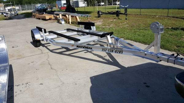 National Trailer - Custom Aluminum Boat Trailer Single Axle - Flat Bunk - Flats Boat - Carolina Skiff - Bass Boat -  - Aluminum Boat Trailers