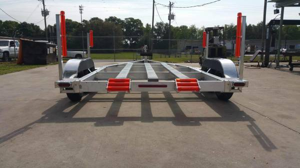 National Trailer - Custom Aluminum Boat Trailer Tandem Axle - Flat Bunk - Air Boat - Custom Jump Roller - High Performance - Aluminum Mag - Custom Air Boat  - Aluminum Boat Trailers